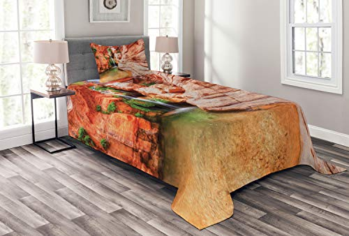 ABAKUHAUS amerikanisch Tagesdecke Set, Colorado-Hochebene, Set mit Kissenbezügen Sommerdecke, für Einselbetten 170 x 220 cm, Hellbraun Scharlachrot Grün