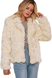 iTLOTL Fashion Women Winter Autume Warm Color Block Faux Fur Long Jacket Coat Outwear