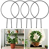 4 Pack 13' Round Plant Support Trellis- Rustproof Black Coated Vine Support Metal Wire Decorative Circle Plant Climbing Holder Rack for Home Garden Balcony Yard Potted Plants Stems Stalks Vines Decors