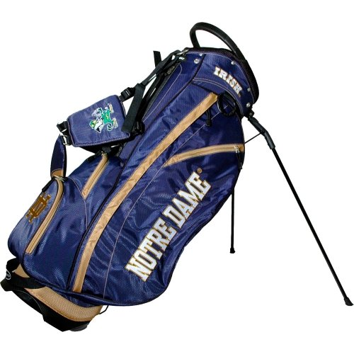 Team Golf NCAA Notre Dame Fighting Irish Fairway Golf Stand Bag Lightweight 14way Top Spring Action Stand Insulated Cooler Pocket Padded Strap Umbrella Holder amp Removable Rain Hood