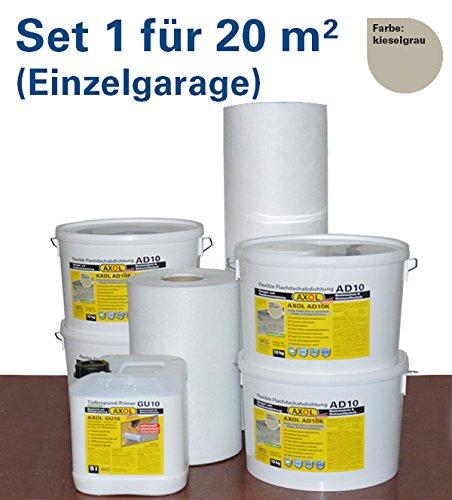 Flachdachabdichtung für 20 qm (Einzelgarage) Flachdach mit Flüssigkunststoff schnell und einfach selber abdichten ergibt eine nahtlose Dachhaut kieselgrau