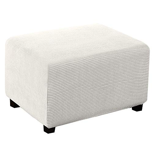Turquoize Stretch Ottoman Slipcover Stretch Storage Ottoman Slipcover Protector Spandex Elastic Rectangle Footstool Sofa Slip Cover for Foot Rest Stool Furniture in Living Room (X-Large, Off White)
