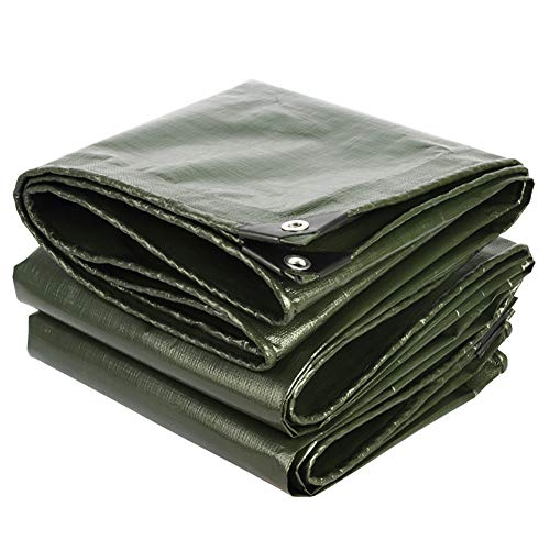 N / A Tarps Outdoor Pergola Tarp Waterproof, 200G Green PE Tarpaulin with Eyelets, Ground Sheet Cover for Roof Porch Truck Tent Patio(Size:5×10m)
