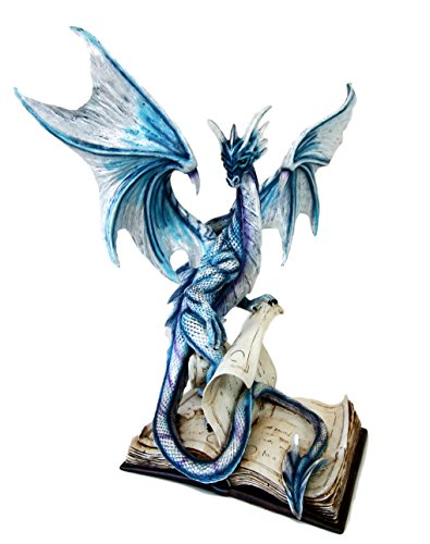 Ebros Large 18' Tall Spell Caster Dragon of Bibliography Decorative Statue Mythical Fantasy Home Decor Figurine