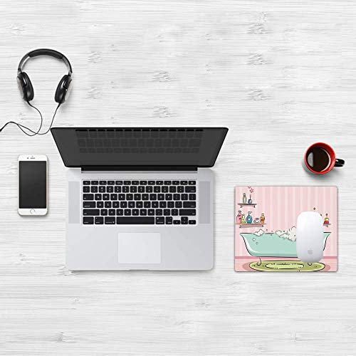 Gaming Mouse Pad, Teens Girls, Illustration Einer Badewanne mit Blasen in Girly Aroma Oil Aromatherapie, Pink und Blau, weiche Oberfläche, leicht zu reinigende Mausmatte, rutschfeste Rückseite