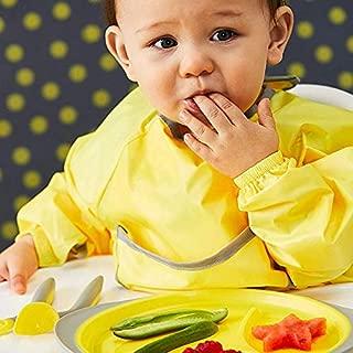 b.box Waterproof Smock Bib | Color: Lemon Sherbet | Fits 6-18 Months | BPA-Free | Phthalates & PVC Free | Machine Washable