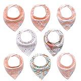 Baby Dreieckstuch Lätzchen für mädchen 8 pack, Halstuch bio - baumwolle, weich und absorbierenden, hypoallergene blaue baby halstuch sabber leibchen geschenkset für babys, kinder, säuglinge