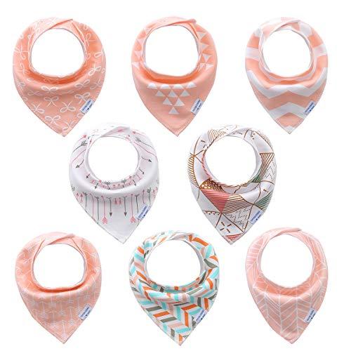 Bavoirs bandana bébé filles de 8 pack-100% coton, doux et absorbants, hypoallergénique bébé bandana bavettes des biberons pour les nouveau - nés, les nourrissons et les tout - petits