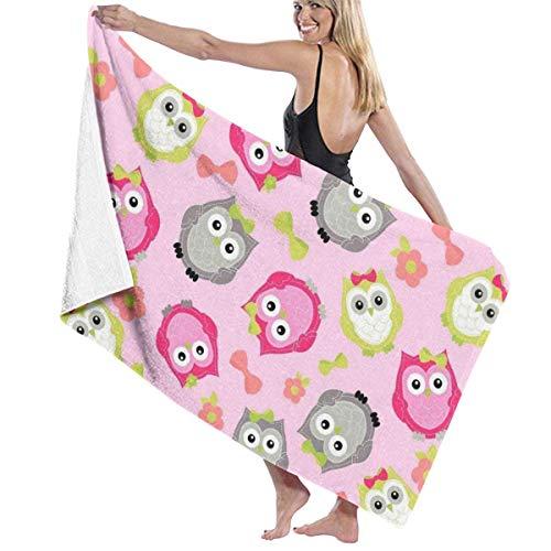 Toallas Shower Towels Beach Towels Bathroom Towels Toalla De Baño Toallas de baño de viaje con estampado de búhos lindos rosados Toalla 130 x 80 CM