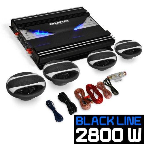 auna 4.0 Auto Anlage Lautsprecherset AutoBoxen HiFi Komplett-Set Black Line 420 2800W 4-Kanal Endstufe + 4X 16,5cm Autolautsprecher