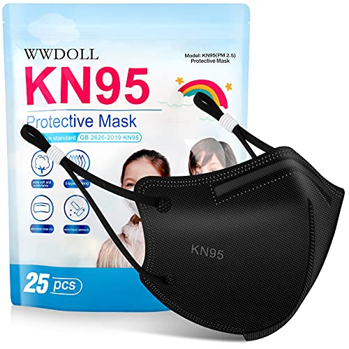 Kids KN95 Face Mask - 25 Pack WWDOLL 5-Layer Disposable Kids Masks with Adjustable Ear Loop, Filter Efficiency≥95% Protection for Children Black