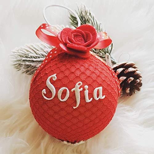 Pallina Di Natale Personalizzata VARI COLORI Con Nome Glitterato E Decorazione Natalizia.Bianca E Rossa