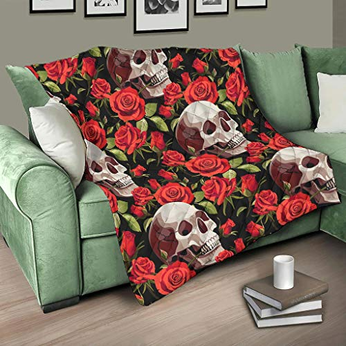 HMML Quilt Blanket Throw Calavera Flowers Red Rose Skull Printed Quilt Blankets for Watch TV White 71x79 inch