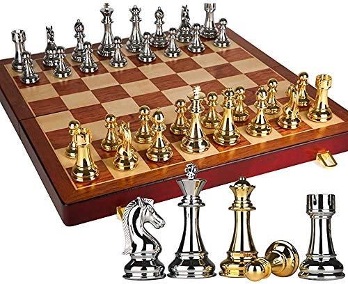 Juego de ajedrez Juego de Viaje para Adultos, niños, Tablero, Juego de ajedrez de Alta Gama, ajedrez Tridimensional, Piezas de ajedrez de Gran tamaño, Tablero de ajedrez de Madera Plegable Retro ro
