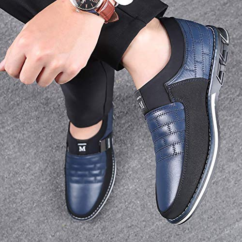 COSIDRAM Men Casual Shoes Slip ons Loafers Sneakers Breathable Comfort Walking Shoes Fashion Driving Shoes Luxury Leather Shoes for Male Business Work Office Dress Outdoor Blue 6