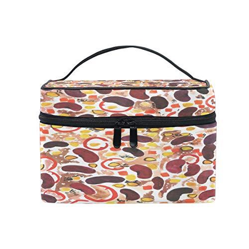Orange And Burgundy Bean Makeup Bag, Cosmetic Bag, Toiletry Bag, Cosmetic Makeup Organizer Case Storage, for Women, Men, Kids, Girls, Traveling, Professional, With Mesh Bag Brush Holder