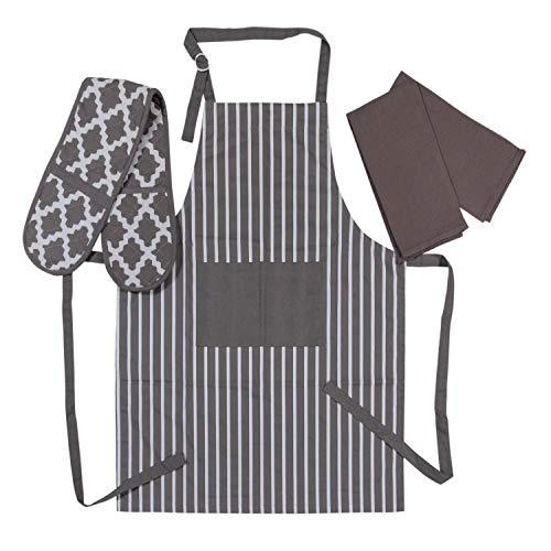 Penguin Home 3519 Schürze, doppelter Ofenhandschuh und 2 Geschirrtücher-Set, 100, weich, langlebig, hitzebeständig und super saugfähig, Baumwolle, grau/weiß, 70 X 90, 18 X 90, 45X 65 cm