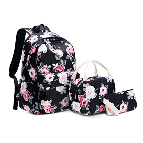 Idubai Canvas Backpack Set Fashion Floral Travel Bags Women College Backpack