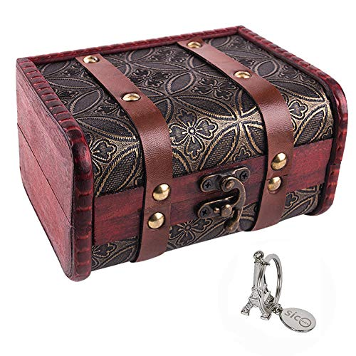 SICOHOME Treasure Box,5.9' Vintage Small Trunk Box for Jewelry Storage,Treasure Cards Collection,Gift Box,Gifts and Home Decoration
