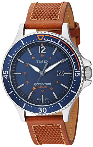 Timex Men's TW4B15000 Expedition Ranger Solar Tan/Blue/Orange Accent Leather Strap Watch