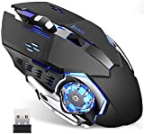 Wireless Gaming Mouse with Unique Silent Click, Breathing Backlight, 2 Side Buttons, (2400, 1600, 1200, 800) DPI, Ergonomic Handle, 6 Buttons, Suitable for PC Notebook Gamers. (Black-1)