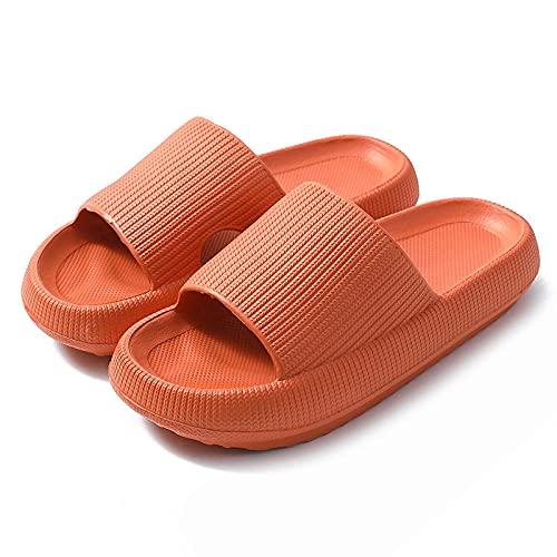 Zapatillas antideslizantes para mujer y hombre, deslizantes para el cuarto de baño; pantuflas gruesas para el hogar, color naranja 40-41, sandalias para piscina de baño