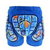Pantalones cortos acolchados de lujo para niños y niñas, almohadillas de protección 3D para caderas, coxis y glúteos (azul, M)