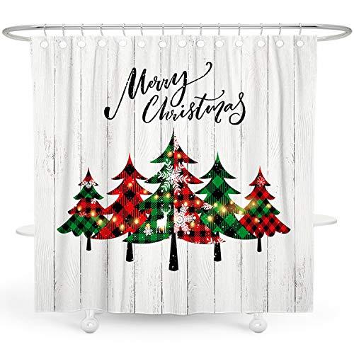 DESIHOM Weihnachtsduschvorhang Urlaub Duschvorhänge für Badezimmer Winter Duschvorhang Weihnachtsbaum Duschvorhang Schneeflocke Holz Duschvorhang Polyester Wasserdicht Duschvorhang 183 x 183 cm