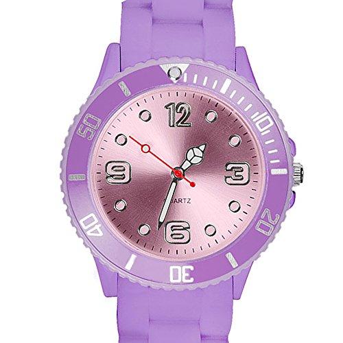 Taffstyle Farbige Sportuhr Armbanduhr Silikon Sport Watch Damen Herren Kinder Analog Quarz Uhr 34mm Flieder