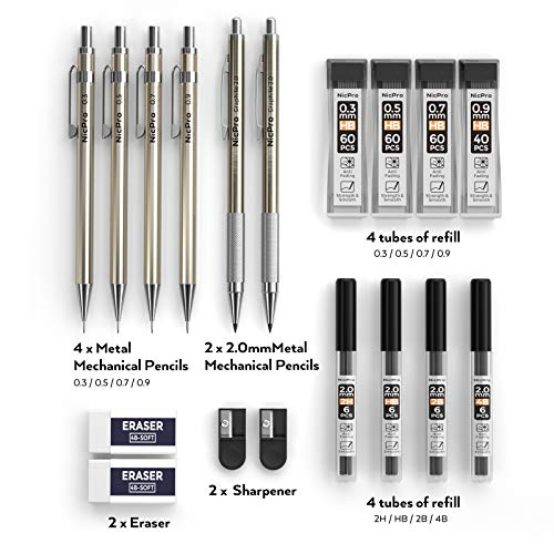 Nicpro 6 PCS Art Mechanical Pencils Set Metal, Artist Drafting Pencil 0.3 & 0.5 & 0.7 & 0.9 mm and 2mm Lead Holder For Art Writing, Sketching Drawing,With 8 Tubes Lead Refills Erasers Sharpener Photo #4