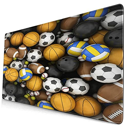 """Großwild-Mauspad,Basketball und Baseball Fußball Bowling,Rutschfester Schreibtisch-Pad-Schutz,Schreibtisch-Schreibmatte für Desktop,Computer-Laptop,15.8\""""x29.5\"""""""