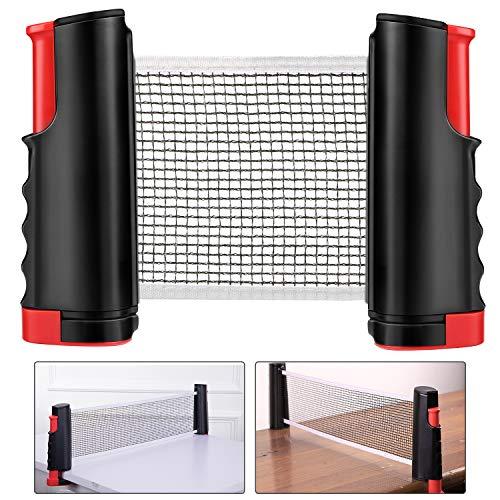 Weego Red de Tenis de Mesa, Repuesto Portátil Retráctil Table Tennis Net - Ping Pong Net para Entrenamiento, Longitud Ajustable 200 (MAX) x 14.5cm, Negro