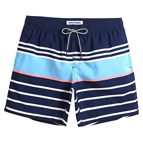 MaaMgic Herren Badehose Jungen Badeshorts Sporthose Schnelltrockend Sport Schwimmhose mit Mesh in vielen Farben, Größen XS - 2XL, Blau Weiß Hellblau XL