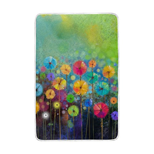 ALAZA Abstract Floral Daisy Watercolor Spring Flower Polyester Microfiber Throw Blanket 60' x 90' Lightweight Cozy Couch Blanket Bed Blanket by My Daily