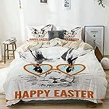 YOLIKA Conejo de Pascua con Gafas Imprimir Microfibra Funda de Nórdico y Fundas de Almohada (Cama 200 x 200cm + Almohada 63X63cm)