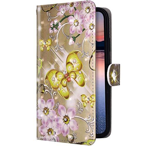 Uposao Kompatibel mit Samsung Galaxy A40 Hülle Diamant Strass Bling Glitzer 3D Bunt Muster Handyhülle Leder Wallet Flip Case Schutzhülle Brieftasche Klapphülle Tasche,Gold Schmetterling