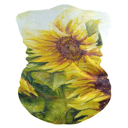 LZXO Bandana Stirnband Sonnenblume Blatt Ölgemälde Nahtlos Gesicht Schal Outdoor Kopfbedeckung Sturmhaube Halstuch Wärmer für Staub Wind Sonnenschutz
