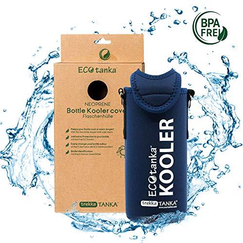 ECOtanka – KOOLER mit Trageriemen (blau / Neopren / universal) für trekkaTANKA - [ Passend für: 0,75l bis 1,25l Flaschen (Glasflaschen, PET, Plastikflaschen, etc.) Champagner, Sekt und Wein 0,7l – 1l (Glas, etc.) ] Getränke länger kalt genießen