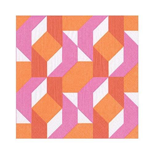 Caspari Color Theorie servet Luncheon, 20 stuks papier, fuchsia, 16,5 x 16,5 x 3 cm