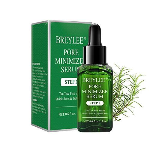 Pore Minimizer, BREYLEE Tea Tree Oil Pore Minimizer Serum Pore Refining Serum for Shrinking Pores, Tightening, Moisturizing and Smoothing Skin(17mL, 0.6 fl oz)