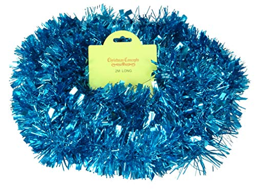 Christmas Concepts 2 Metre Various Colour Chunky/Fine Christmas Tinsel - Christmas Decoration - High Quality Tinsel (Turquoise)