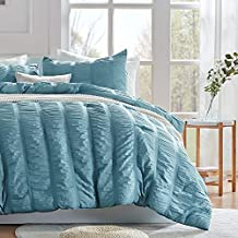 SLEEP ZONE All Season Seersucker Comforter Set Luxury Down Alternative Lightweight Easy-wash Fluffy Soft Microfiber Duvet Insert 3-Pieces (Cameo Blue, Full/Queen)