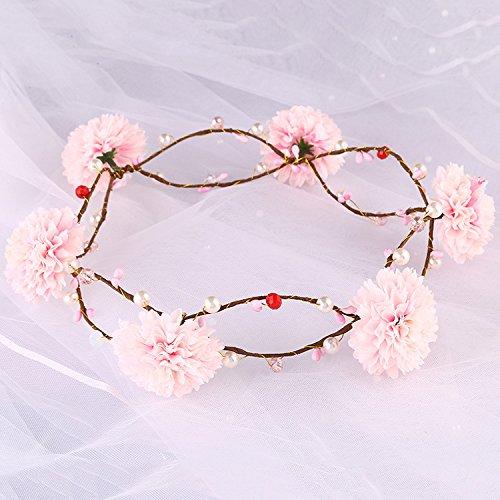 Sposa Matrimonio Diadema Corona Tiara Corona Matrimonio Sposa Copricapo in Tessuto Ghirlanda di fiori di capelli gioielli