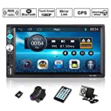 Autoradio GPS Navigation, OUTAD Wince 7'' 1080P Touchscreen 2 DIN, Mirrorlink/Bluetooth Freisprecheinrichtung/7 LED Beleuchtungsfarbe/RDS, mit Fernbedienung/Rückkamera/Lenkradsteuerung/8G...