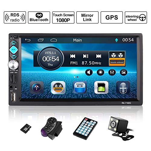 OUTAD Autoradio GPS Navigation, Wince 7\'\' 1080P Touchscreen 2 DIN, Mirrorlink/Bluetooth Freisprecheinrichtung/7 LED Beleuchtungsfarbe/RDS, mit Fernbedienung/Rückkamera/Lenkradsteuerung/8G TF Karte