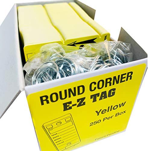 Car Key Tags, Self Laminating Plastic Automotive Key Tags with Ring, Bulk Car Dealer Supplies, Round Corner, Yellow, Box of 250 Photo #6