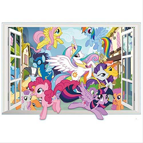 WYLD Wandaufkleber Pony Anime Wandtattoos My Little Horse Gefälschte 3d Fenster Vinyl Aufkleber Kinderzimmer Dekoration Cartoon Poster Tapete 70 * 50 cm