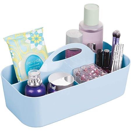mDesign corbeille de douche avec 6 compartiments – bac de rangement pour douche portatif en plastique pour accessoires de salle de bain – organisation de shampooing, rasoirs, etc. – bleu clair