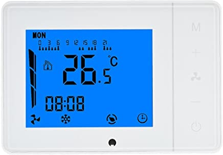 Anself 110~230V Air Conditioner 2-Pipe 4-Pipe Thermostat with LCD Display Touch Screen Programmable Home Improvement Product White