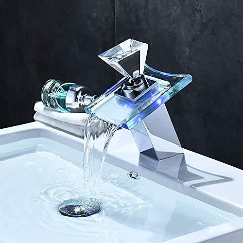 IUYJVR Baño Grifo para Lavabo con luz LED, Grifo para Lavabo con Pico de Vidrio en Cascada, Grifo para Lavabo Mezclador de Agua fría y Caliente, Cambios de 3 Colores sensibles a la Temperatura, Cue